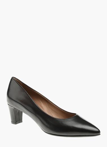 Divarese Kalın Topuklu Deri Ayakkabı Siyah